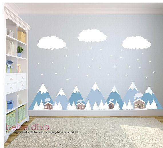 Mountain Wall Decals, Wall Decals Nursery, Baby Wall Decal, Kids Wall Decals,  Wall Decal Nursery, Nursery Wall Decal, REMOVABLE And REUSABLE