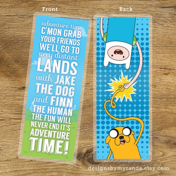 Best Bros Adventure Time Inspirational Quote Bookmark / SCHMOWZOW!! Mathematical / Oh my Glob / This is a one piece, double sided bookmark featuring the text from Adventure Time's theme song as well as an illustration of the tightest homies in Ooo. They are printed on 130 lb. premium glossy stock and hand cut, measuring roughly 1 15/16 x 5 7/16 inches. - Happy reading! / Finn the Human - Jake the Dog - Ice King - Lumpy Space Princess - Princess Bubblegum / by DesignsbyMyranda on Etsy
