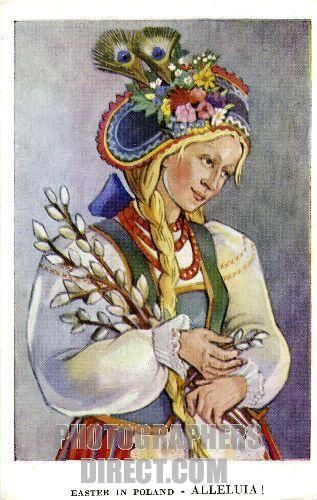 Easter in Poland : Girl from Kurpie , Ostrolenka . c . 1942 . Shows a woman dressed in costume from Kurpie , Central Poland . She appears to be holding branches from a pussy willow tree . Illustration by I . Lukaszewicz . stock photo