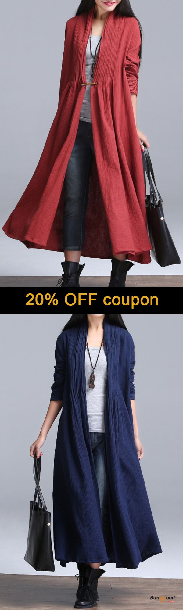 US$39.99 + Free shipping. Size: S~L. Fall in love with fashion and casual style! Plus Size Vintage Women Solid Ruffles Long Sleeve Long Coat Cardigan.
