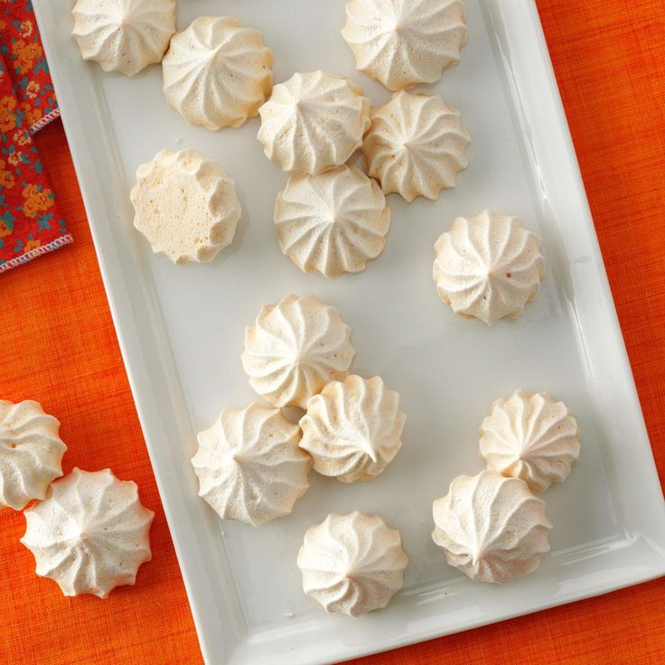 Vanilla Meringue Cookies Recipe -Holiday dinners often feature rich, heavy desserts. So we suggest you also offer these, light, airy morsels.—Taste of Home Test Kitchen
