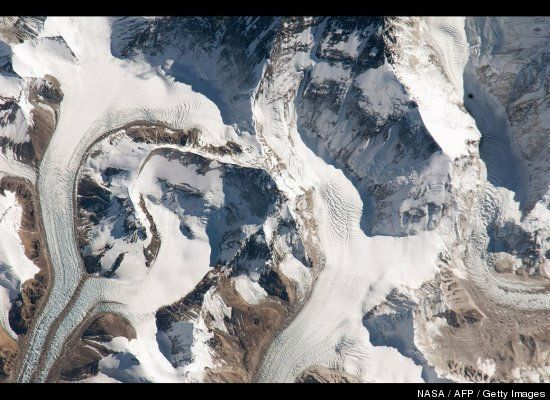 Astronauts captured this image highlighting the northern entry to Mount Everest from Tibet. Climbers travel along the East Rongbuk Glacier, shown on the lower left, to camp at the base of Changtse mountain.