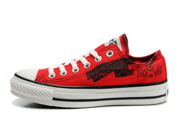 Red All Star Rock And Roll Low Top Canvas Shoes
