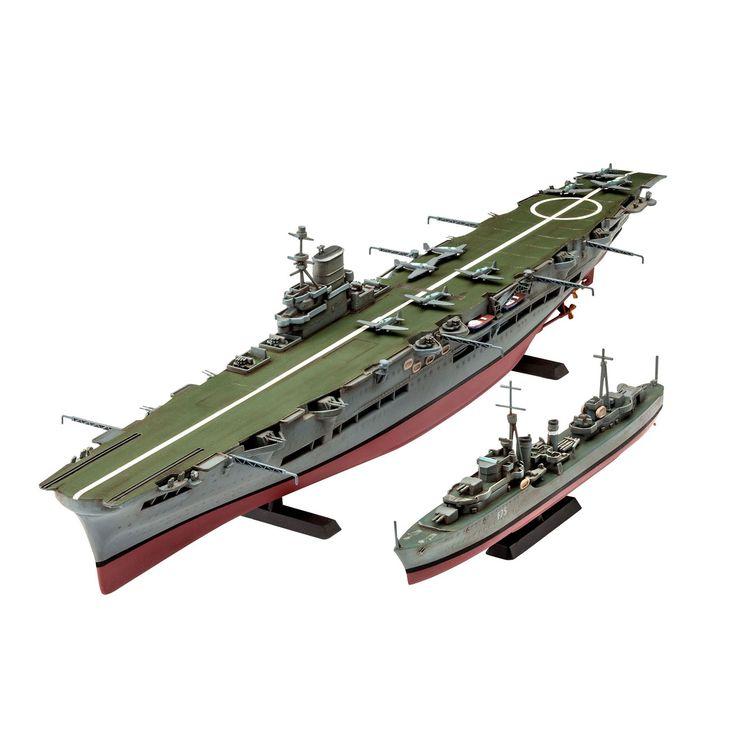 Maak een levensecht Ark Royal & Tribal Class Destroyer schip op schaal na met deze Revell Model Set. De modelbouwset bestaat uit 110 onderdelen op schaal 1:720. Moeilijkheidsgraad 4 sterren. Exclusief verf en lijm. Afmeting: verpakking 44 x 13 x 4 cm - Revell HMS Ark Royal & Tribal Class Destoyer