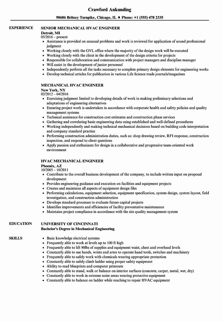 20 Mechanical Design Engineer Resume in 2020 Mechanical