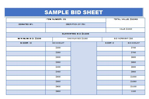 Silent Auction Bid Sheet Example 2