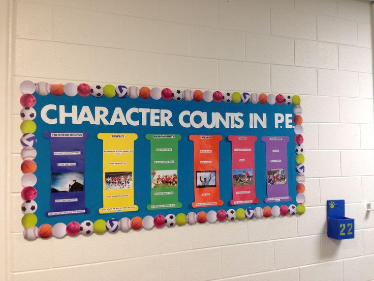 Classroom Pe Ideas ~ Character counts pe bulletin board school social work