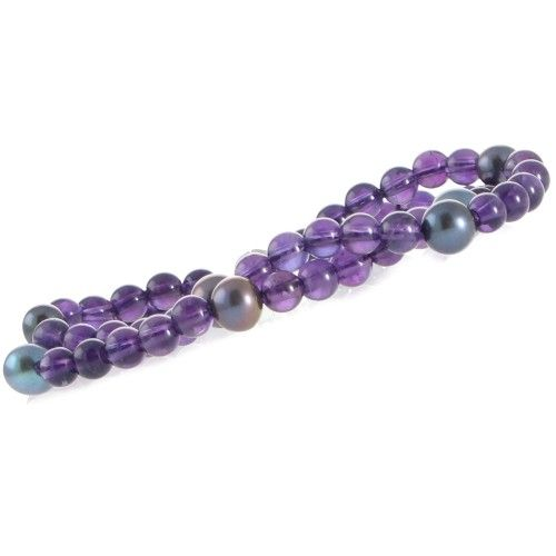 Double row round 6mm amethyst beads interspersed with 7 black freshwater pearls threaded to a silver magnetic ball clasp. #Rutherford #Melbourne
