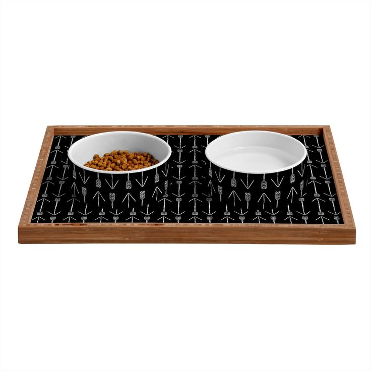 Allyson Johnson Black Arrows Pet Bowl and Tray   DENY Designs Home Accessories