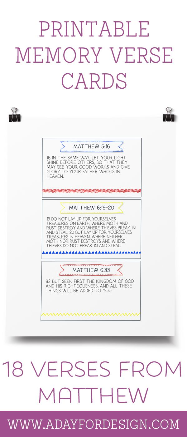 FREE Set of 18 Printable Memory Verse Cards from Matthew | Use these printable memory verse cards with the Charlotte Mason Scripture Memory System or in your own way to teach memory verses to kids.