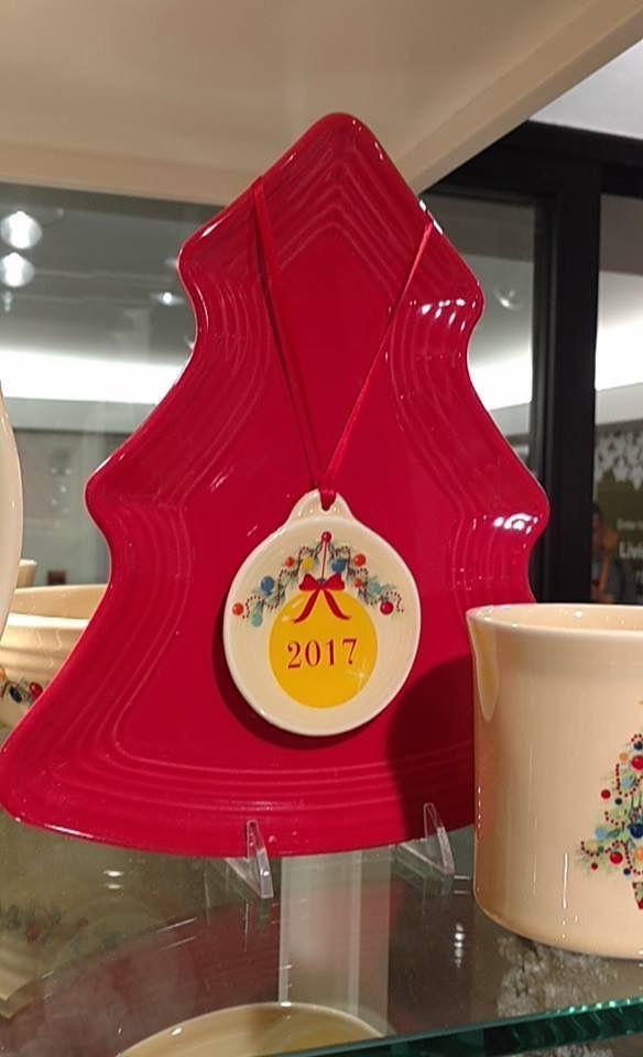 Fiesta® Christmas Tree Shaped Plate in Scarlet and 2017 Fiesta® Christmas Tree Ornament