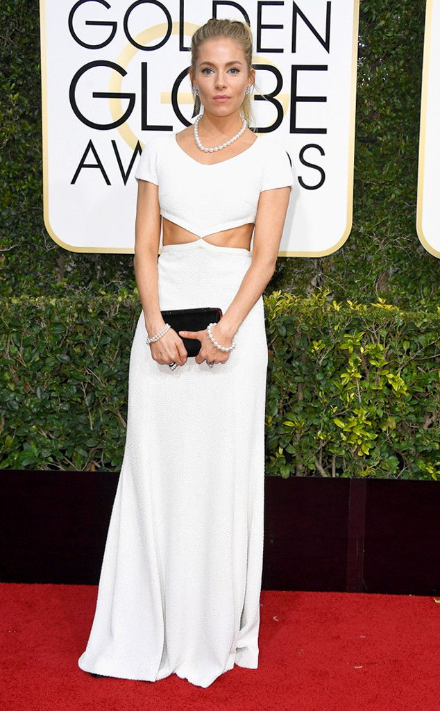 Flawless Sienna Miller from 2017 Golden Globes Red Carpet Arrivals  In Michael Kors