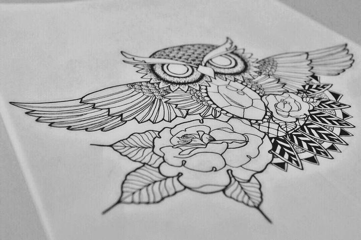By Irina Vinogradova  Owl art drawing black sketch dotwork