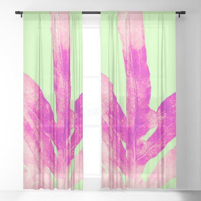 Bright Light Pink Fern On Green Sheer Curtain By Anoellejay Society6 Don T Miss Out Bright Bold Blue Green An Green Sheer Curtains Green Artwork Dream Decor