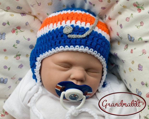 EDMONTON OILERS BABY Crocheted Hockey Helmet Hat & by Grandmabilt