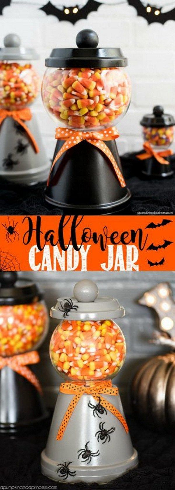 Halloween Candy Jar. Make a Halloween candy jar with a terra cotta pot, saucer, a glass bowl and wooden knob. Perfect for decorating and displaying your favorite Halloween treats!