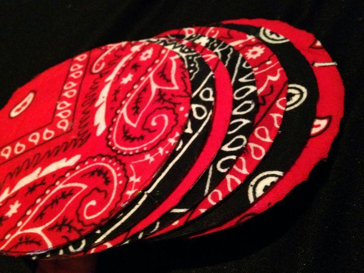 Diy coasters using CDs and bandanas :)