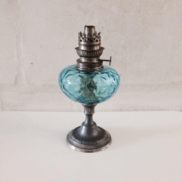 French Vintage Oil Lamp / Blue Handblown Glass Antique Oil Lamp / Chimney / Lighting / Desk Lamp / France / Kerosene / Hurricane by BonneBrocante on Etsy