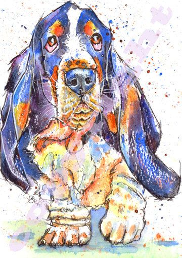 Basset Hound Picture Dog Painting Print of by JaPeyArtnStuff