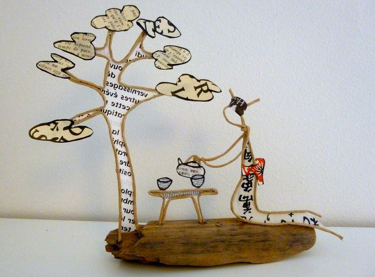 La cérémonie du thé au Japon - figurine en ficelle et papier