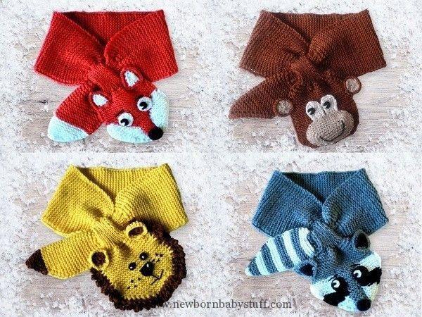 Baby Knitting Patterns Schal für Kinder - und Kleinkinder mit Tiermotiven