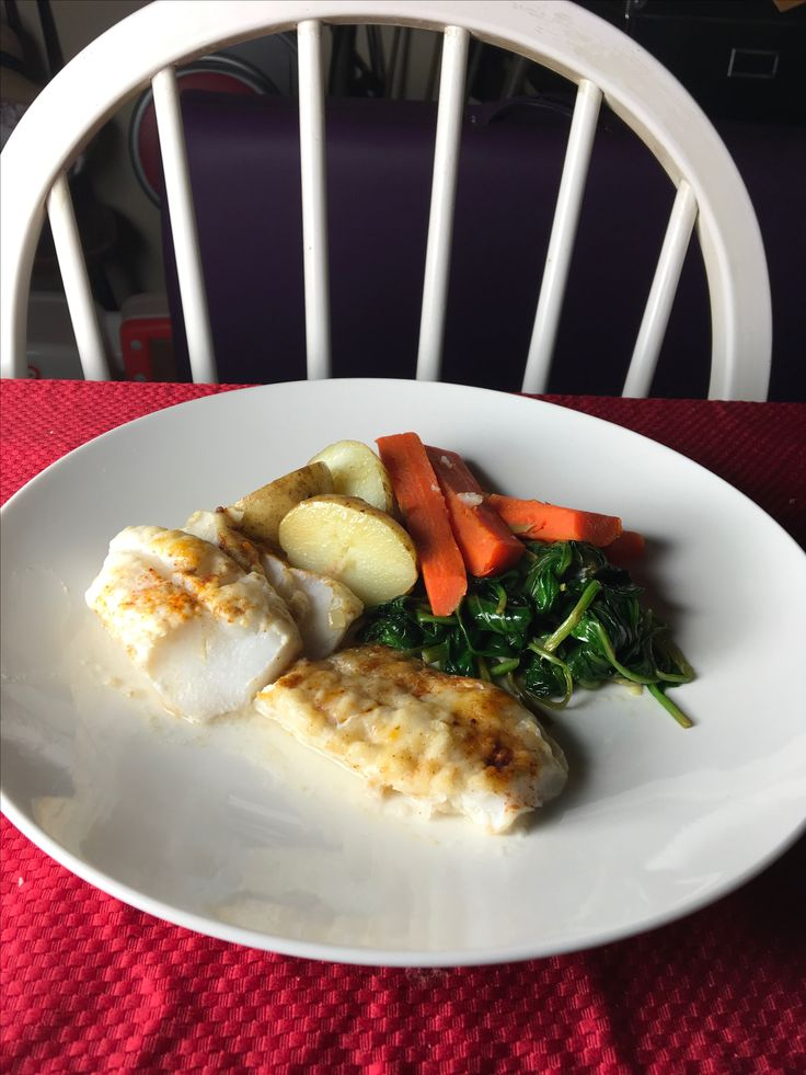 Cod with lemon butter baked. Gluey. Maybe higher temperature would have improved it.