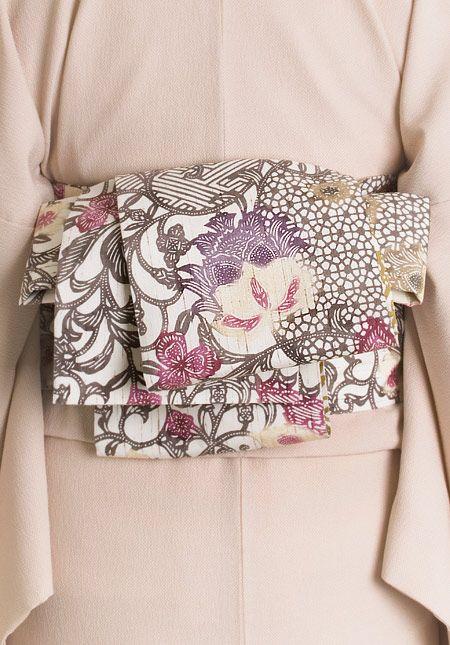 くるり ぜんまい紬の半幅帯【江戸紅型】蘇芳(すおう) くるり 着物屋くるり