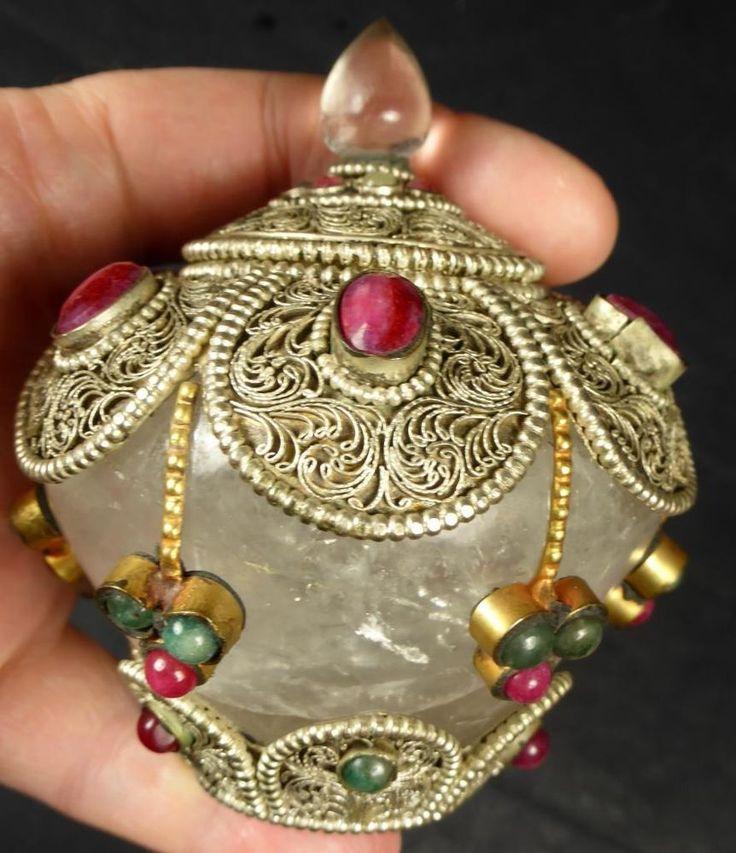 TIBETAN QUARTZ HIGH ALTITUDE QUARTZ CRYSTAL JEWEL ENCRUSTED REAL RUBY & EMERALD SARIRA STUPA TEMPLE in Antiques, Asian/ Oriental Antiques, South-East Asian | eBay
