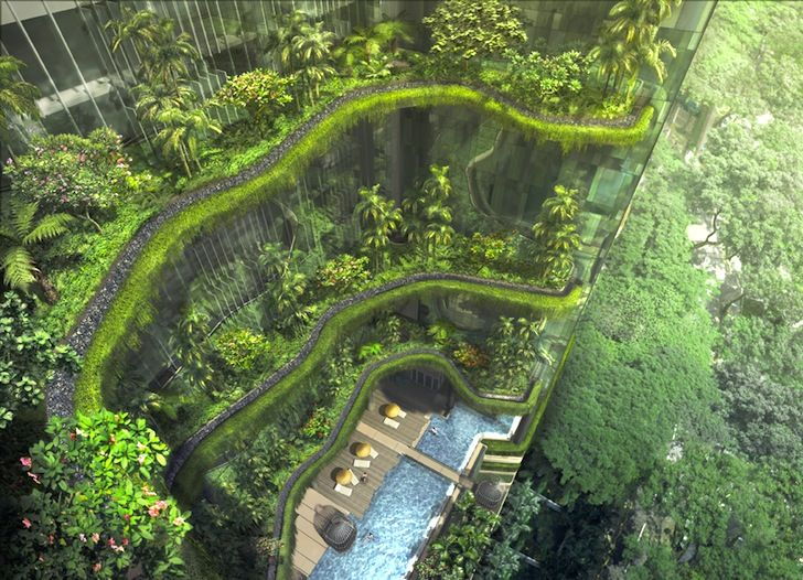 Curtains of greenery at the Park Royal Hotel soon to open in central Singapore by WOHA