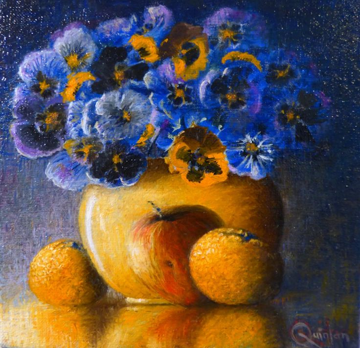 """Original oil painting - 8"""" x 8"""" Vase of Pansies and Fruit, An oil painting by Irish still life artist Chris Quinlan. An oil painting on linen panel a colourful vase of lilies, completed Mar 28 2018."""