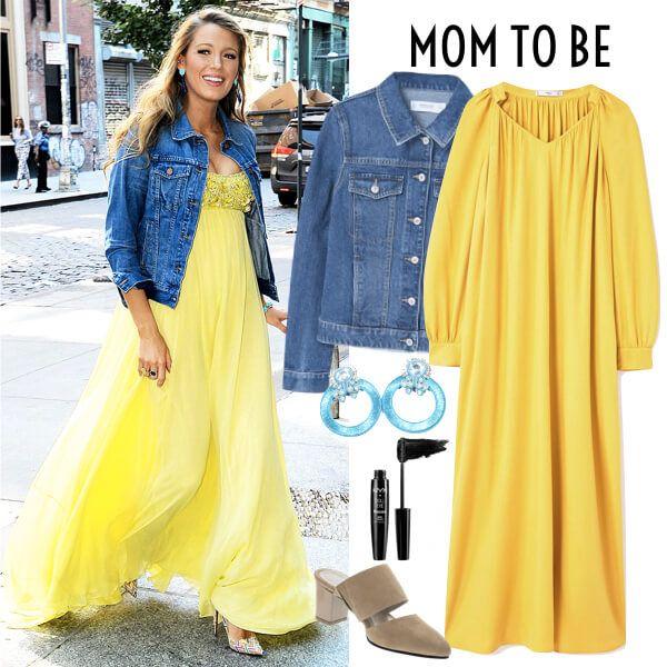 Mom To Be Con Estilo De Blake Lively. Outfit embarazada. Look embarazo