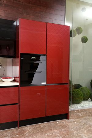 red tall cabinet