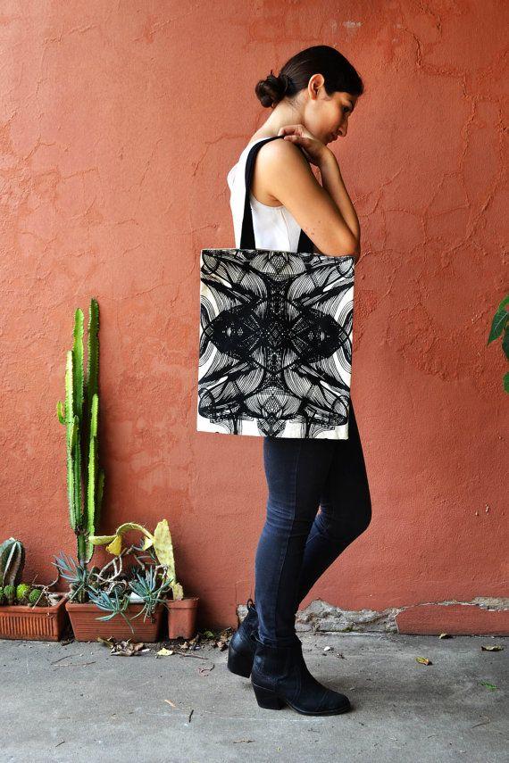 Handmade - Screen Printed Canvas tote bag w. Hand drawn Abstract Black print by Laura Nadile