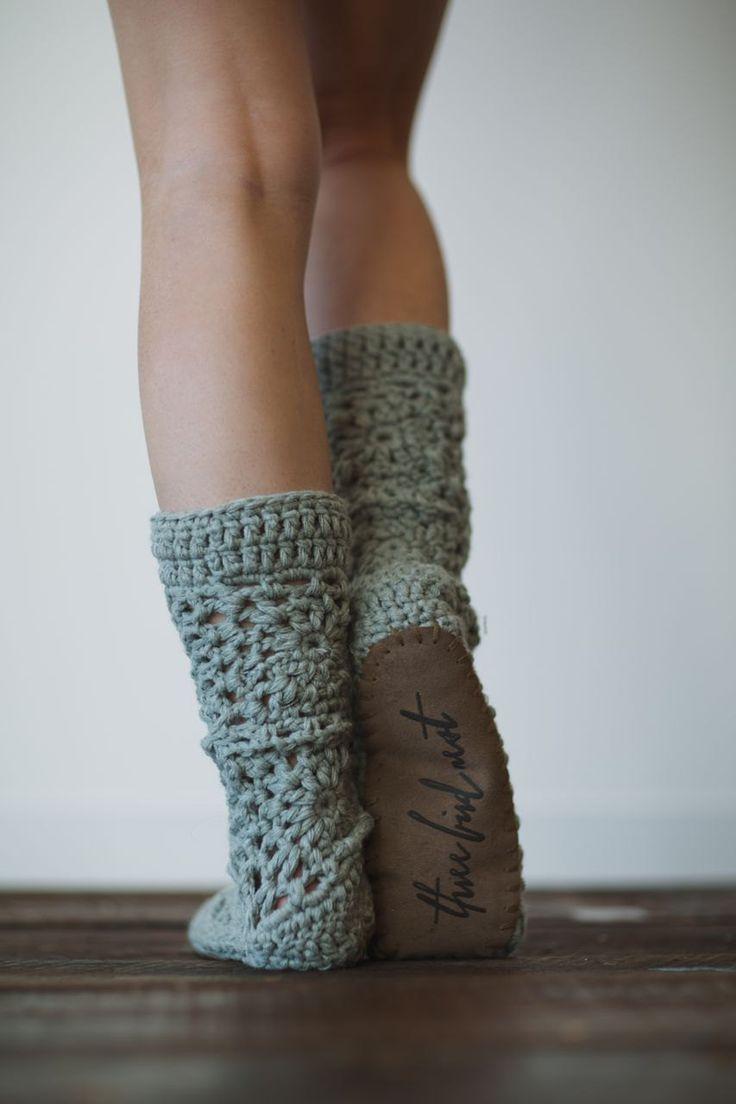 Fall Slippers Chunky Crocheted Slipper Socks For Her