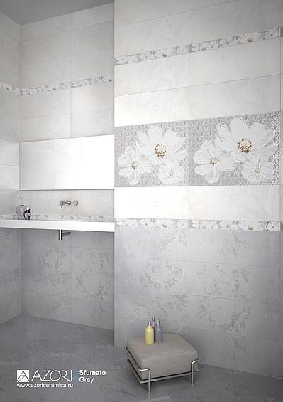 керамическая плитка  для ванной комнаты Azori Sfumato Grey