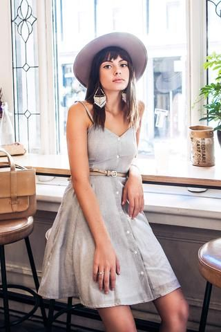 Erin Dress by Meemoza. Circular Dress with Adjustable Spagetti Straps and Pockets. Tailored in Canada.Organic Cotton. Sustainable and soft as silk.