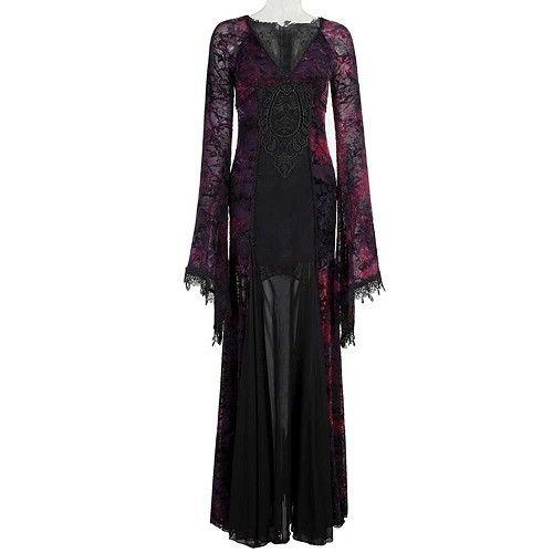 Opium kanten lange maxi jurk zwart/paars - Gothic metal - S/M - Punk Rave