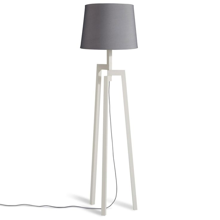 Wooden Tripod Floor Lamp   White Ash With Grey Shade