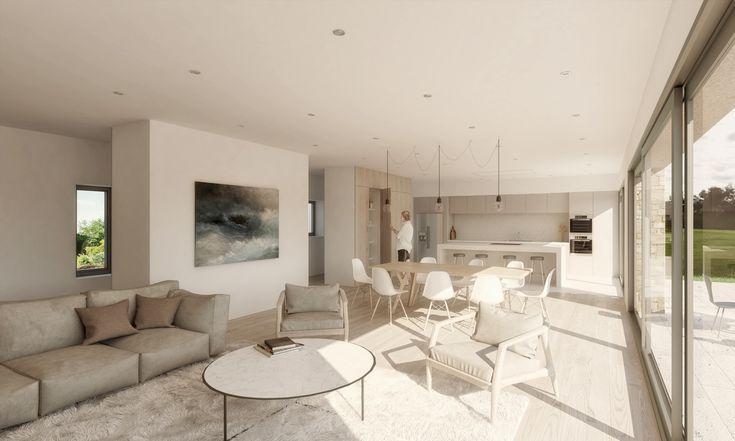 Interior Design Render Open plan kitchen living area