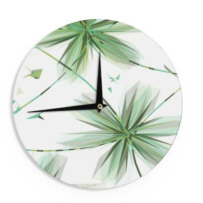 """East Urban Home Alison Coxon 'Flower Teal' 12"""" Wall Clock Color: Teal"""