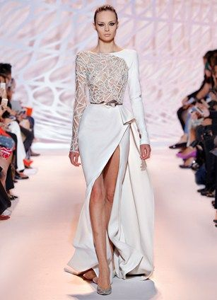 ZUHAIR MURAD - Silk crepe wrap gown in white moon with asymmetric jewel lattice bust with side ruffle slit.