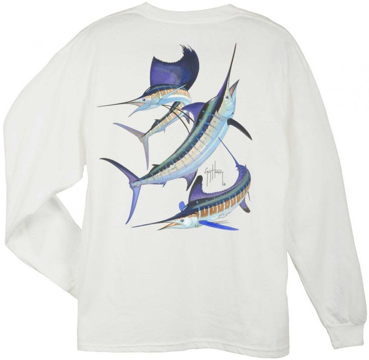 Guy Harvey Shirts - Guy Harvey Grand Slam Back-Print Long Sleeve Tee in White or Yellow, $22.95 (http://www.guyharveyshirts.com/guy-harvey-grand-slam-back-print-long-sleeve-tee-in-white-or-yellow/)