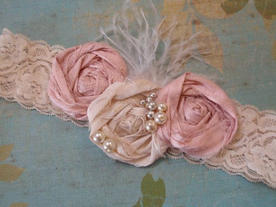 Flower Girl Headband, Shabby Pink and Ivory Rosettes Headband, Baby Girl Headband, Newborn Photo Prop, Girls Headband,Adorable Baby Headband