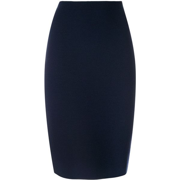 D.Exterior knitted pencil skirt ($440) ❤ liked on Polyvore featuring skirts, brown, blue pencil skirt, brown skirt, brown pencil skirt, pencil skirt and blue skirt