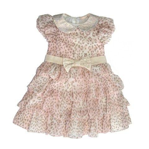 Vestido Festa Tigrado Gola e Laço de Strass - Vestidos de Festa - Bebê Menina - Petit Cherie