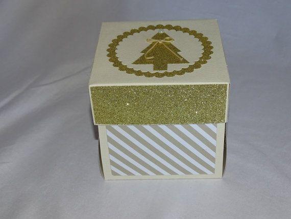 Christmas explosion box card gold christmas tree, Xmas exploding box card, Christmas gift box, Christmas explosion box, Christmas decor