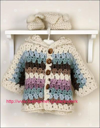 Lovely colors.....  Crochet golden jacket and stinali for baby!