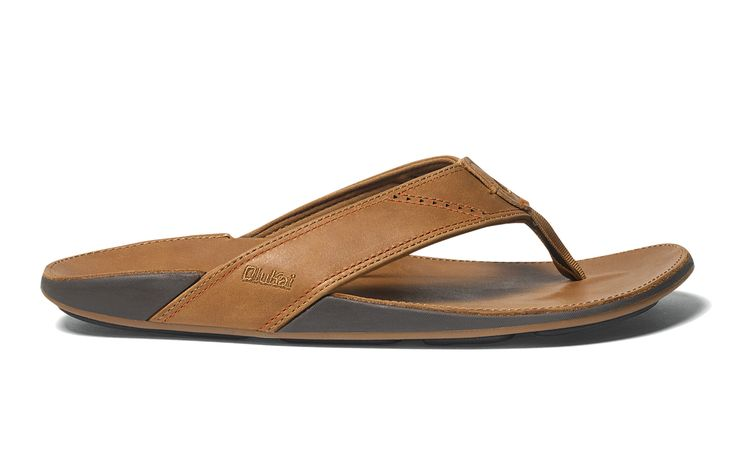 Olukai Nui Men's Tan / Tan Leather Sandals Flip Flops 102393434