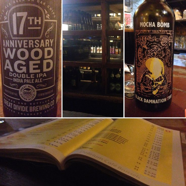 An evening at the Delirium Café Brussels Belgium: The Great Divide 17th Anniversary Wood Aged IIPA and De Struise Black Damnation Mocha Bomb II #FavoriteBeers #summershandy #beers #footy #greatnight #beer #friends #craftbeer #sun #cheers #beach #BBQ