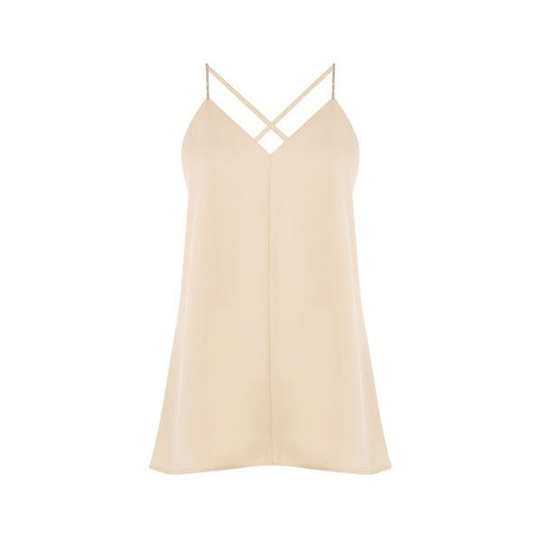 Warehouse Warehouse Diamante Cami Size 6 (73 AUD) ❤ liked on Polyvore featuring beige, pink cami and pink camisole